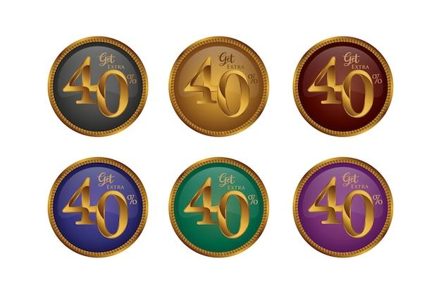 Set di badge colorati sconto con quaranta 40 percento