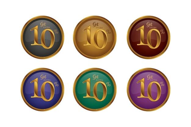 Sconto set di badge colorati con dieci 10 percento