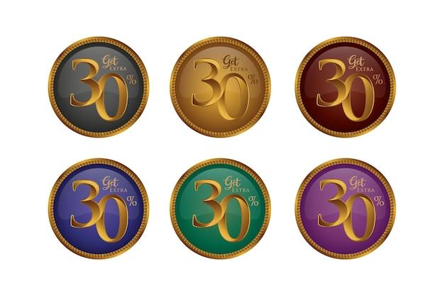 Set di badge colorati sconto con trenta 30 percento