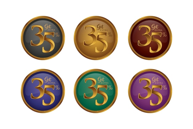 Set di badge colorati sconto con trentacinque 35 percento
