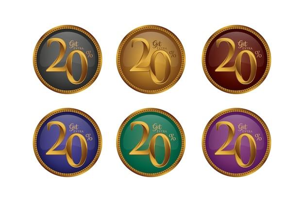 Set di badge colorati sconto con venti 20 percento