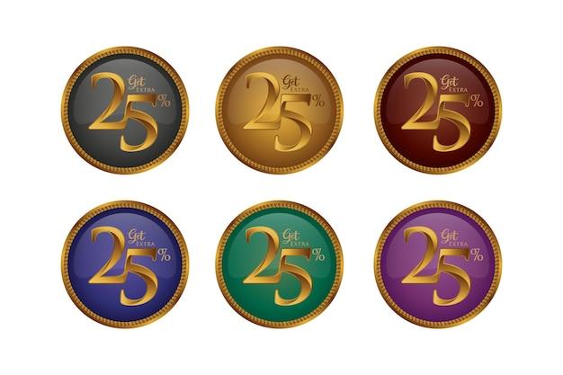 Set di badge colorati sconto con venticinque 25 percento