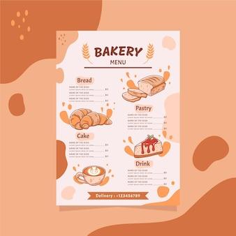 Illustrazione variopinta di progettazione del menu della panetteria