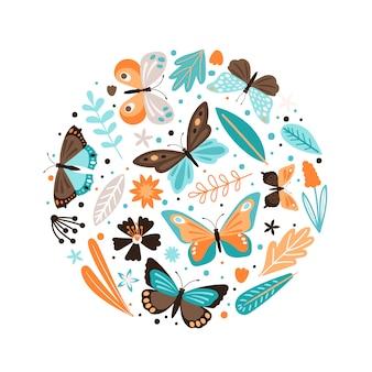 Insegna variopinta con gli elementi e le farfalle floreali su fondo bianco