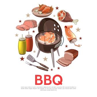 Colorato barbecue party round concetto