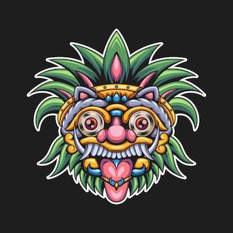 Illustrazione colorata testa barong