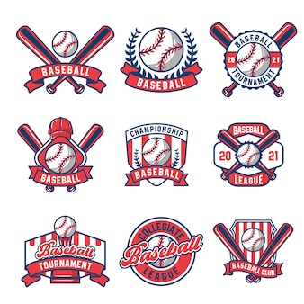 Collezione di logo e insegne da baseball colorati