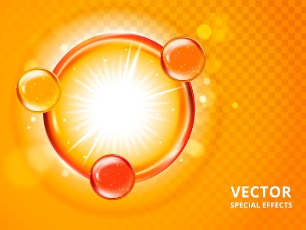 Perline colorate collegate da un cerchio, sfondo arancione