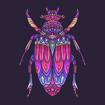 Illustrazione di mandala colorato scarabeo