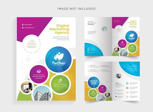 Brochure bifold colorata con cricle