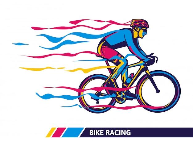 Illustrazione colorata di corse in bicicletta