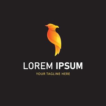 Logo colorato uccello design. logo animale stile sfumato