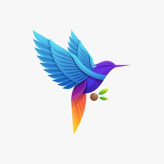 Modello di vettore dell'illustrazione del logo dell'uccello colorato