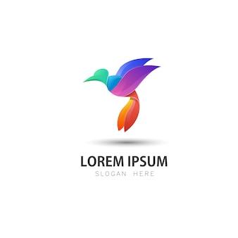 Modello di logo uccello colorato