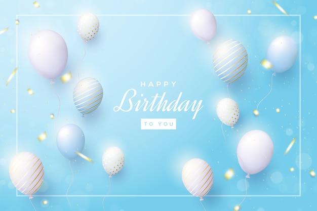 Sfondo di compleanno colorato con palloncini realistici