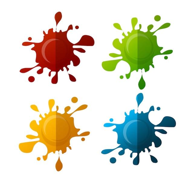 Set macchia colorata isolato su sfondo bianco
