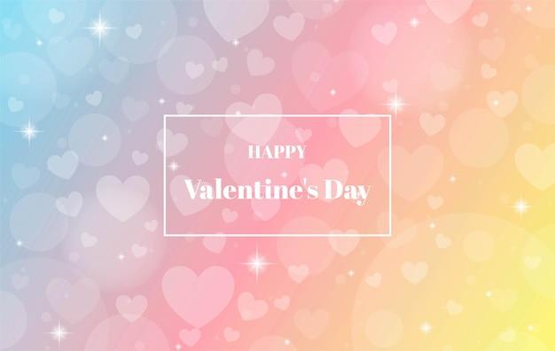 Colorato sfocato felice san valentino con sfondo bokeh di cuore.
