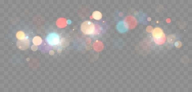 Bokeh colorato luci sfondo sfocato forme cerchio illustrazione vettoriale