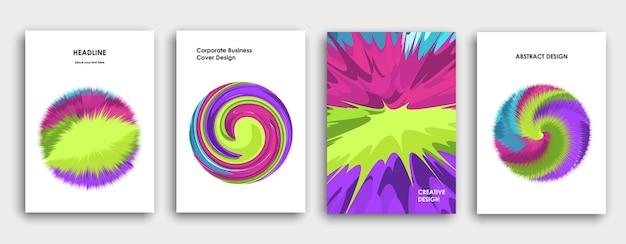 Design colorato della copertina del libro. sfondo astratto. esplosione di vernice. poster, relazione annuale aziendale, brochure a4, mockup di riviste creative. pennellate luminose. vettore multicolore.