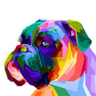 Cane boxer colorato in stile pop art. illustrazione