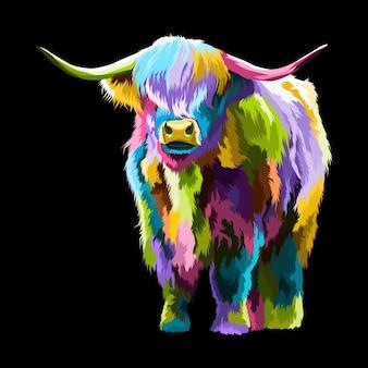 Illustrazione del ritratto di pop art bufalo colorato.