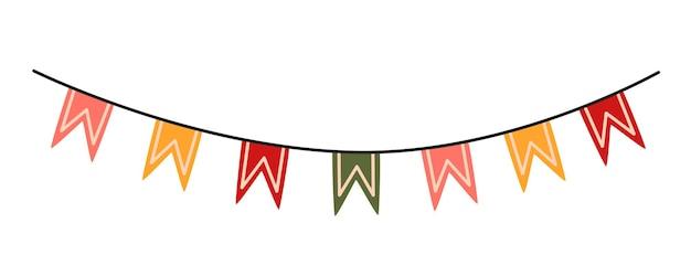 Bandiere colorate della stamina. decorazioni per feste. elemento decorativo vettoriale