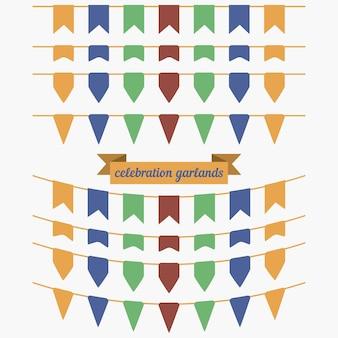 Set di bandierine e ghirlande colorate. elementi di design per la decorazione di biglietti di auguri, inviti. illustrazione vettoriale.
