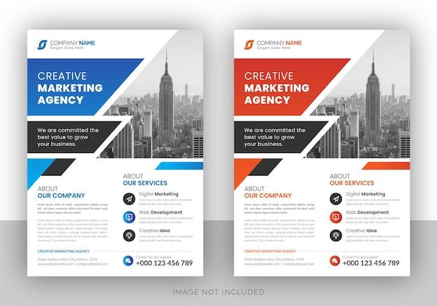 Modello di disegno colorato business flyer Vettore Premium