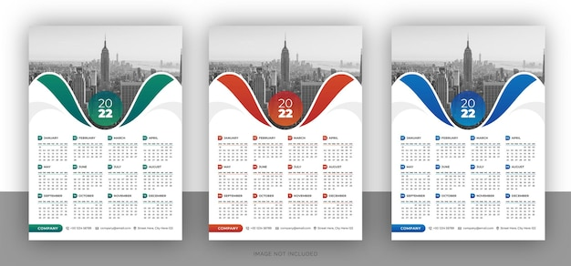 Modello di design colorato calendario da parete aziendale