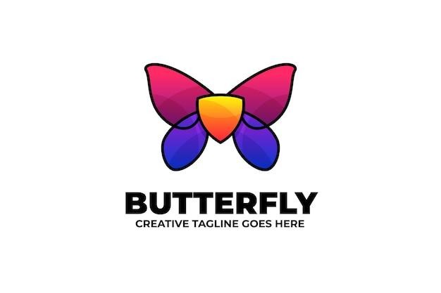 Logo monoline sfumato farfalla colorata