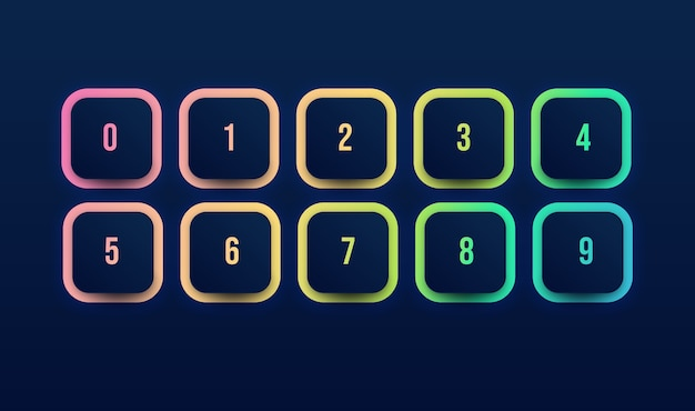 Icona del pulsante colorato impostato con punto elenco numero