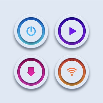 Bottoni colorati. pulsanti di alimentazione, riproduzione, download e wi-fi