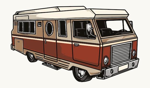 Modello di camper colorato in stile vintage isolato
