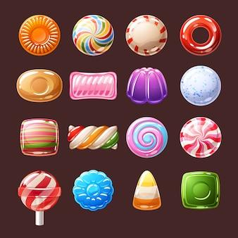 Illustrazione di icone di caramelle colorate dolci.