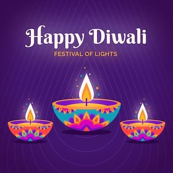 Candele colorate diwali evento design piatto