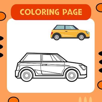 Auto colorata da colorare pagina vettore premium adatto per l'educazione dei bambini e per molteplici scopi