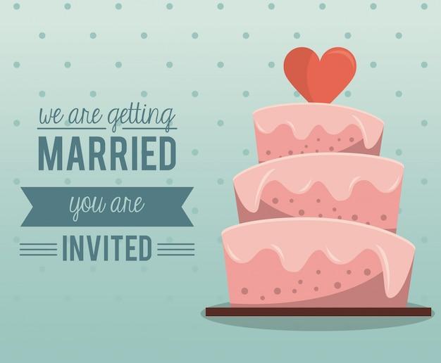 Carta colorata di ci stiamo per sposare con la torta nuziale