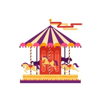 Carosello colorato con cavalli, elemento del parco di divertimenti in stile piano isolato su priorità bassa bianca. animazione per bambini, giostra, illustrazione di carnevale luna park