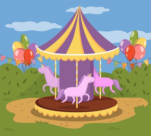 Carosello colorato con cavalli, allegro andare in tondo in un parco divertimenti illustrazione, colorato