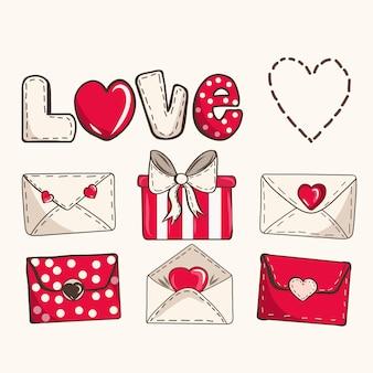 Insieme della lettera del fumetto colorato. busta con messaggio d'amore. buste romantiche disegnate a mano dei cartoni animati con cuori e dichiarazioni d'amore