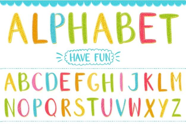Lettere di vettore del fumetto colorato con texture disegnate a mano alfabeto latino per bambini e disegni divertenti Vettore Premium