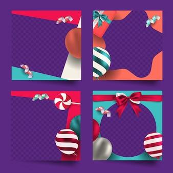 Collezione di cornici colorate celebrazione social media post