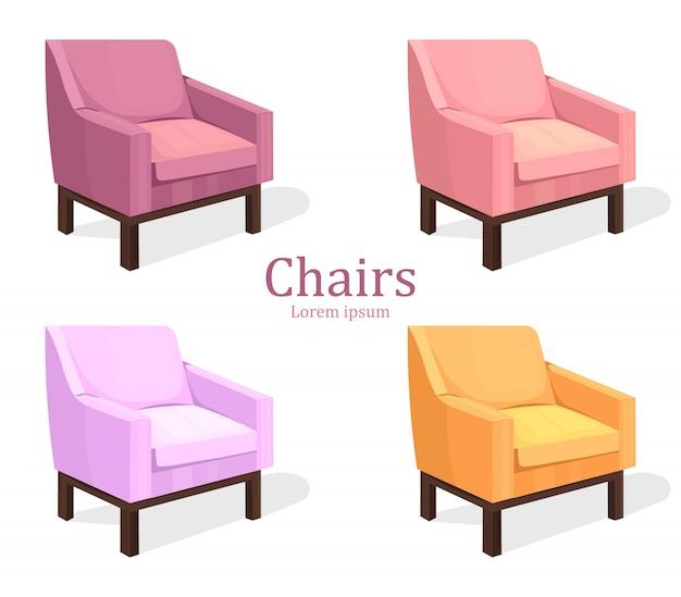 Set di sedie colorate. moderna collezione di imbottiti
