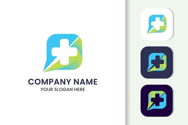 Modello di logo di salute croce chat colorato