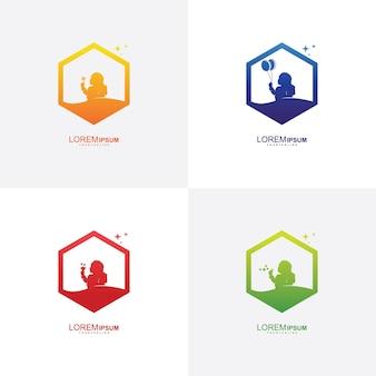 Modello di disegni di logo di bambini colorati