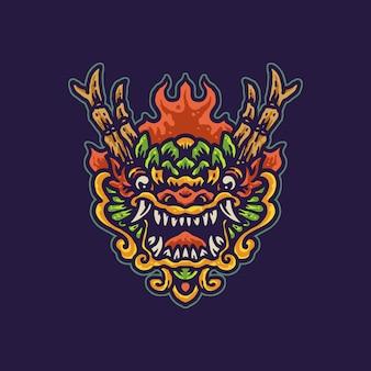 Drago cinese colorato cartoon illustration