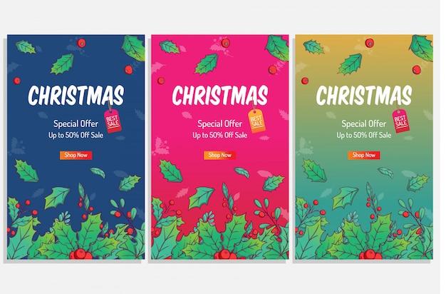 Poster di natale colorato per lo shopping vendita o sconto con foglie di inverno carino per