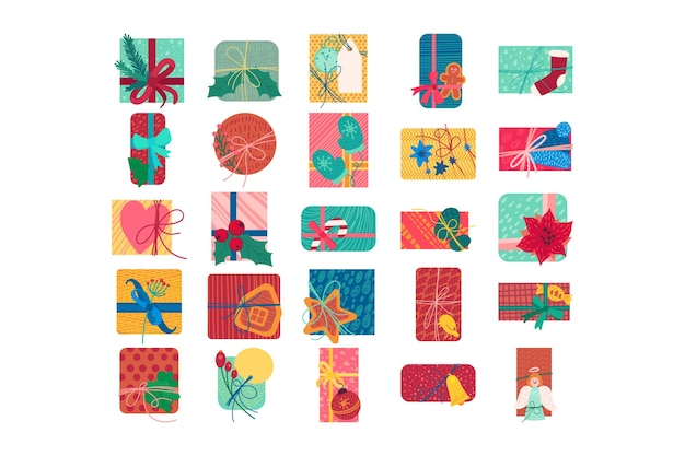 Colorate scatole regalo di natale piatto illustrazione vettoriale. set di adesivi per regali di capodanno