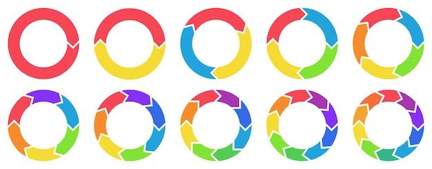 Grafici freccia cerchio colorato. frecce multicolori rotanti, combinazioni di cerchi ripetuti e set di icone di ricarica.