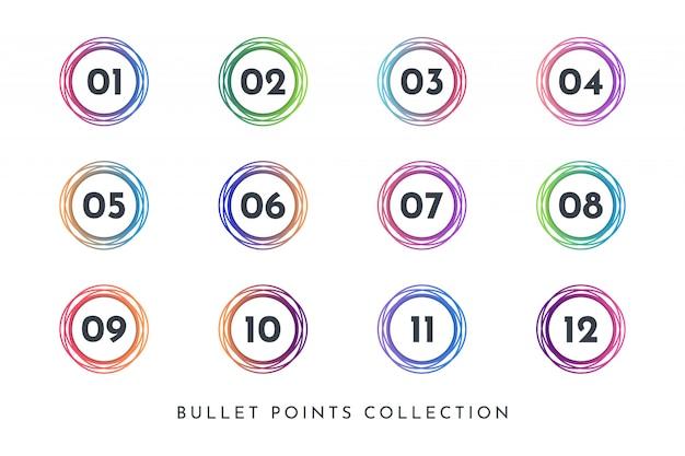 La raccolta di numeri di punti elenco circle colorati imposta da 1 a 12